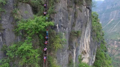 Amazing ladder saves villagers living on cliff