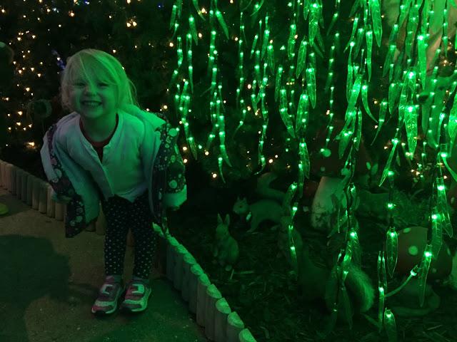 Tin Box Tot illuminated by green fairy lights