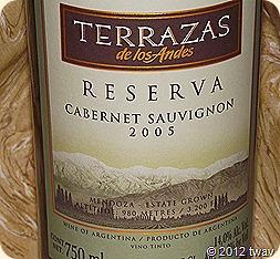 Vino Sphere Terrazas 2005 Reserva Cabernet Sauvignon Mendoza