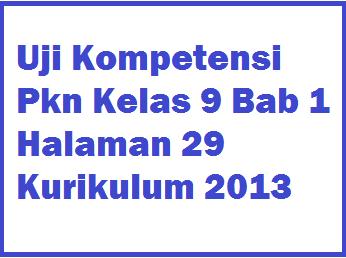 Uji Kompetensi Pkn Kelas 9 Bab 1 Halaman 29 Kurikulum 2013 Operator Sekolah