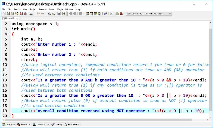 Logical operator in C++