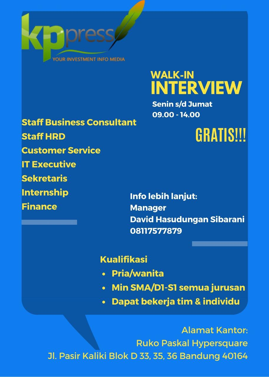 Lowongan Kerja KP Press Bandung Desember 2019