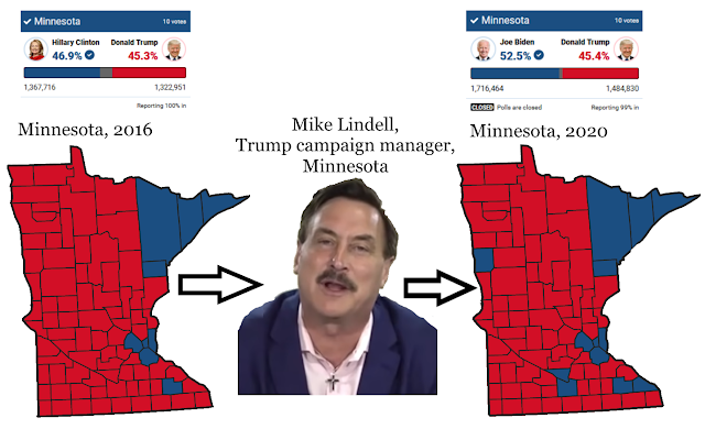 Donald Trump presidential elections in Minnesota results 2016 2020 margins Mike Lindell campaign manager Joe Biden Hillary Clinton