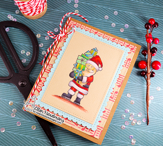 Santa Card by Ellen Haxelmans | Dear Santa Stamp set, Music Stencil and Framework Die Set by Newton's Nook Designs #newtonsnook #handmade