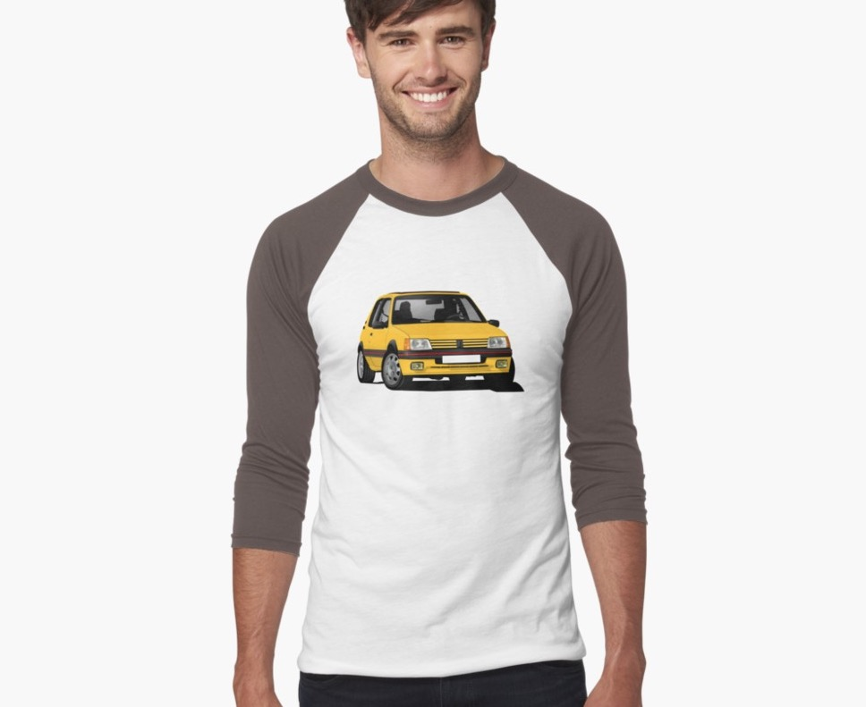 Cornering Peugeot 205 GTi in yellow, two color shirts
