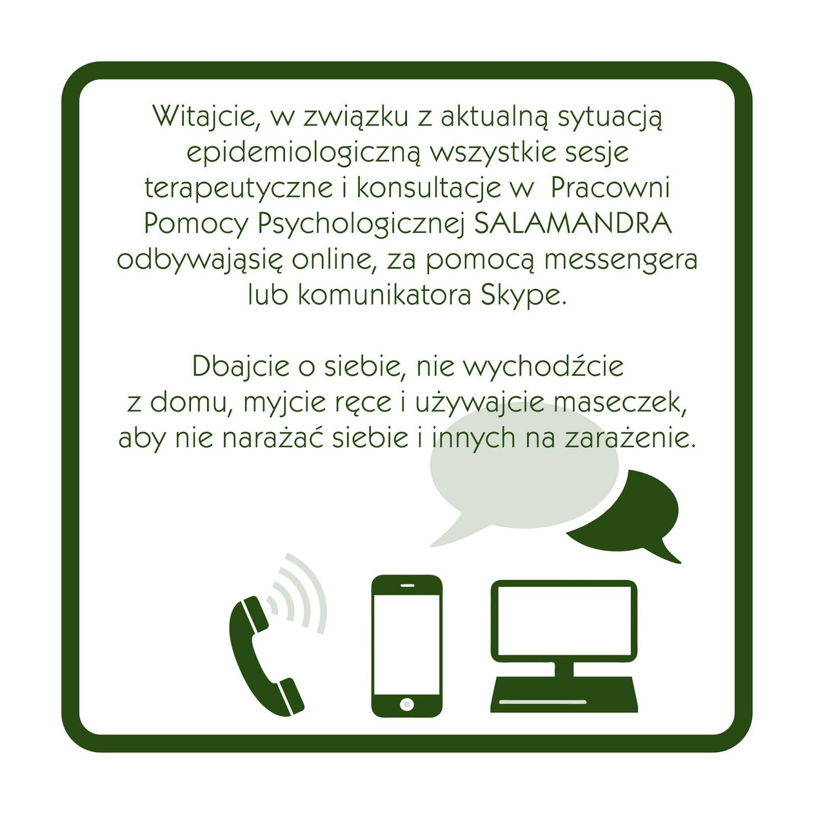 Aktualności - podczas epidemii wszystkie sesje terapeutyczne odbywają się online