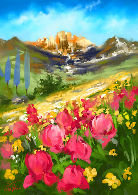 Spring valley digital colorful landscape painting by Mikko Tyllinen
