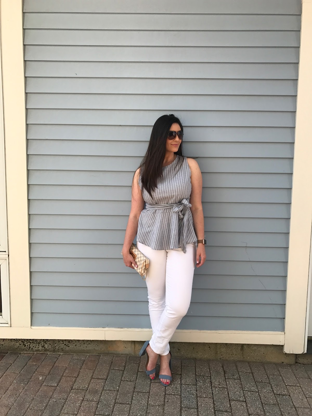 nautical outfit, what to wear in the spring, what to wear in summer, how to style white jeans, target block heels, shop the mint boutique, peplum top, how to style a peplum top, nautical inspired outfits, fourth of july outfit ideas