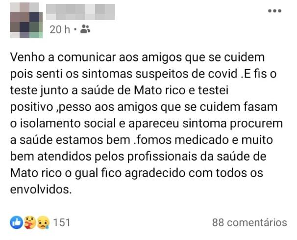 Mato Rico confirma seu primeiro caso de COVID-19