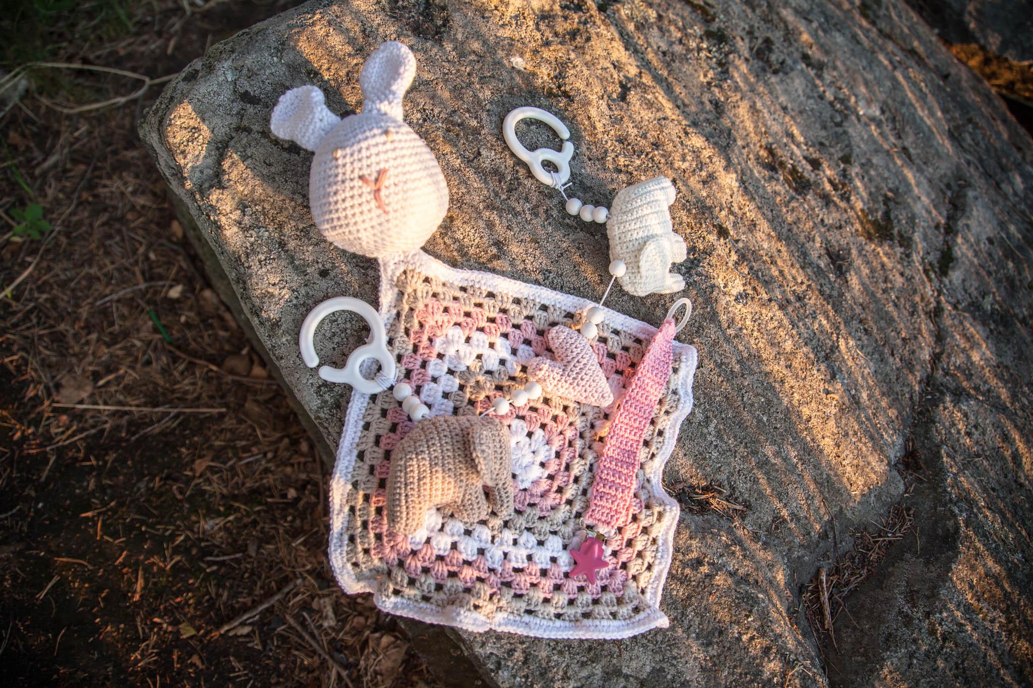 virkattu setti vauvalle norsu