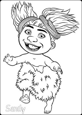 gambar mewarnai the croods sandy