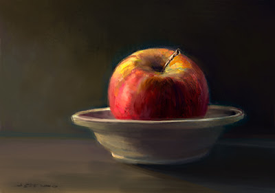 Red Apple in Fruit Bowl Oil Painting by Jeff Ward