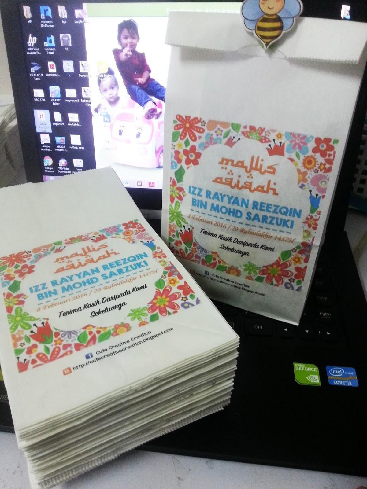 Goodies majlis aqiqah for Idea doorgift untuk aqiqah