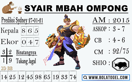 Kode Syair Mbah Ompong Sydney Rabu 27-Jan-2021