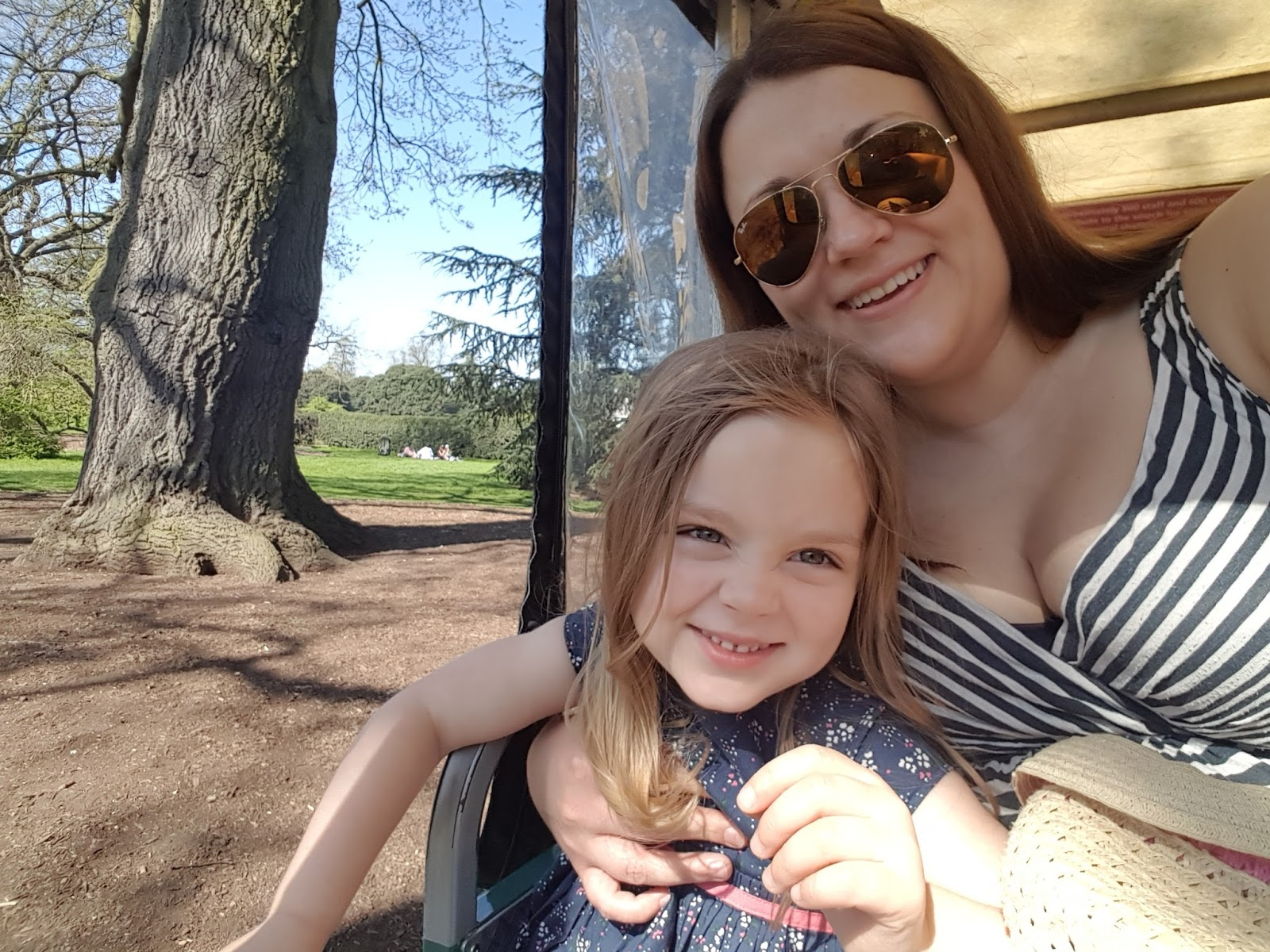 Mum and daughter on Kew Explorer Land Train