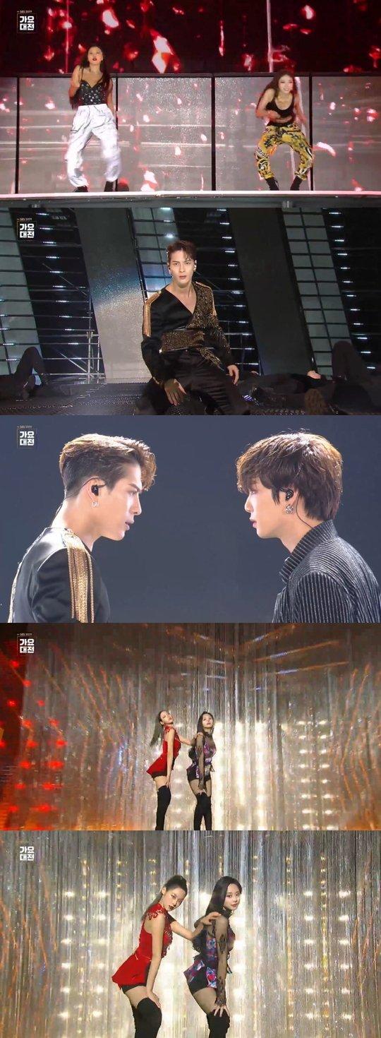 Seolhyun ve Tzuyu, Hwasa ve Chungha 'SBS Gayo'da birlikte sahne aldı