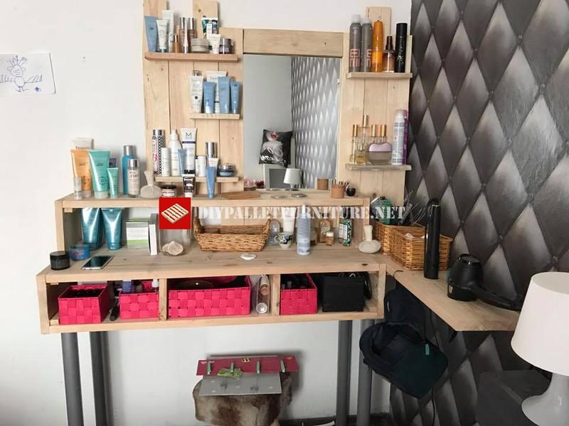 Espejo estanteria para tocador con palets - Estanterias con palets ...