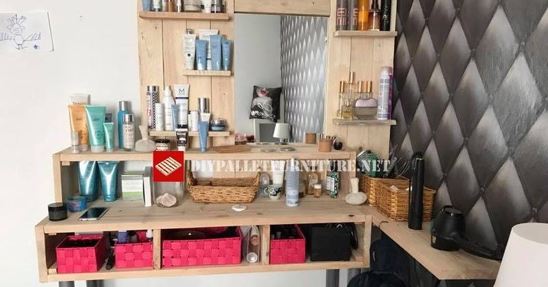 Espejo estanteria para tocador con palets - Estanteria con palets ...