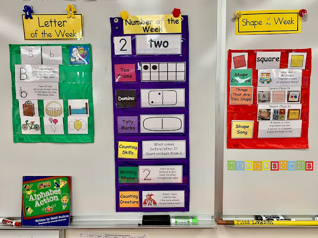 Kindergarten Focus Wall, Week 2:  Letter A, Number 2, Square