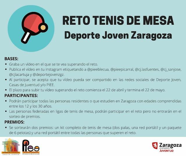 RETO TENIS DE MESA:#JuventudZgzEnCasa