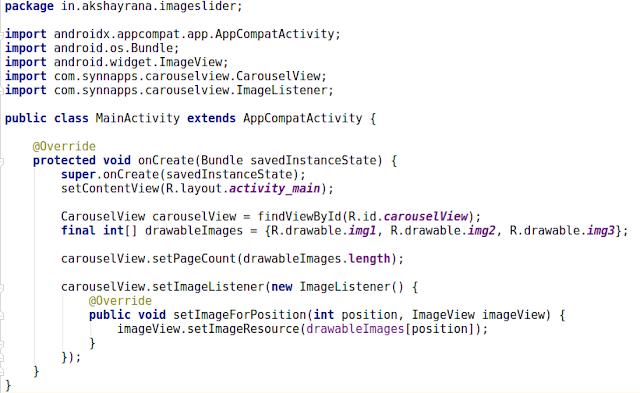 android activity java image slider