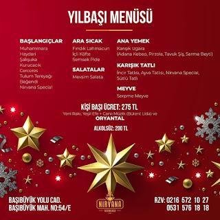 Nirvana Ocakbaşı İstanbul Yılbaşı Programı 2020 Menüsü