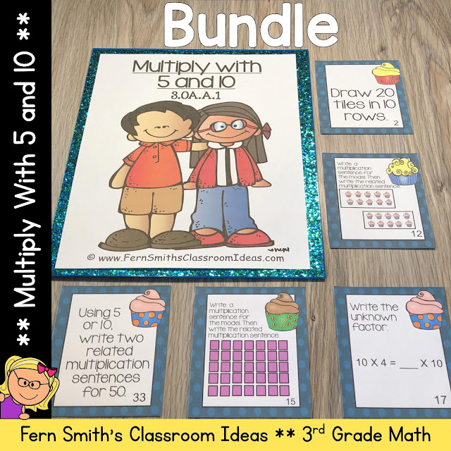 3rd Grade Go Math 4.2 Multiply with 5 and 10 Bundle by Fern Smith's Classroom Ideas