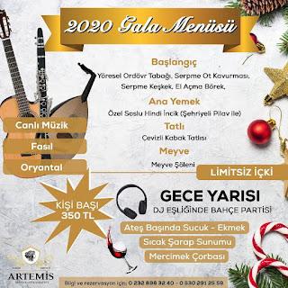 Artemis Restaurant Şirince Selçuk Yılbaşı Programı 2020 Menüsü