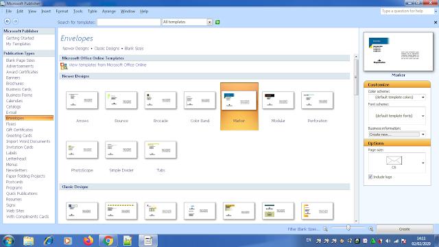 Membuat Desain Amplop Surat Menggunakan Microsoft Publisher, membuat amlop surat dengan microsoft publisher, langkah langkah membuat desain amlop surat, amlop surat microsoft publisher