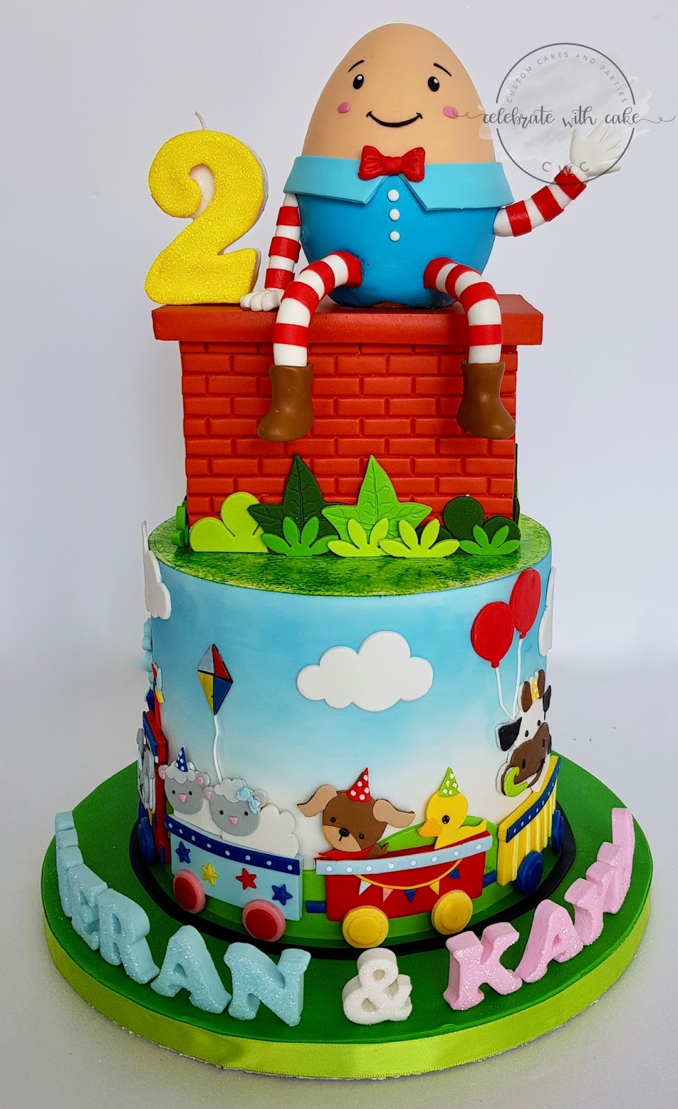 Humpty Dumpty And Animal Train Cake