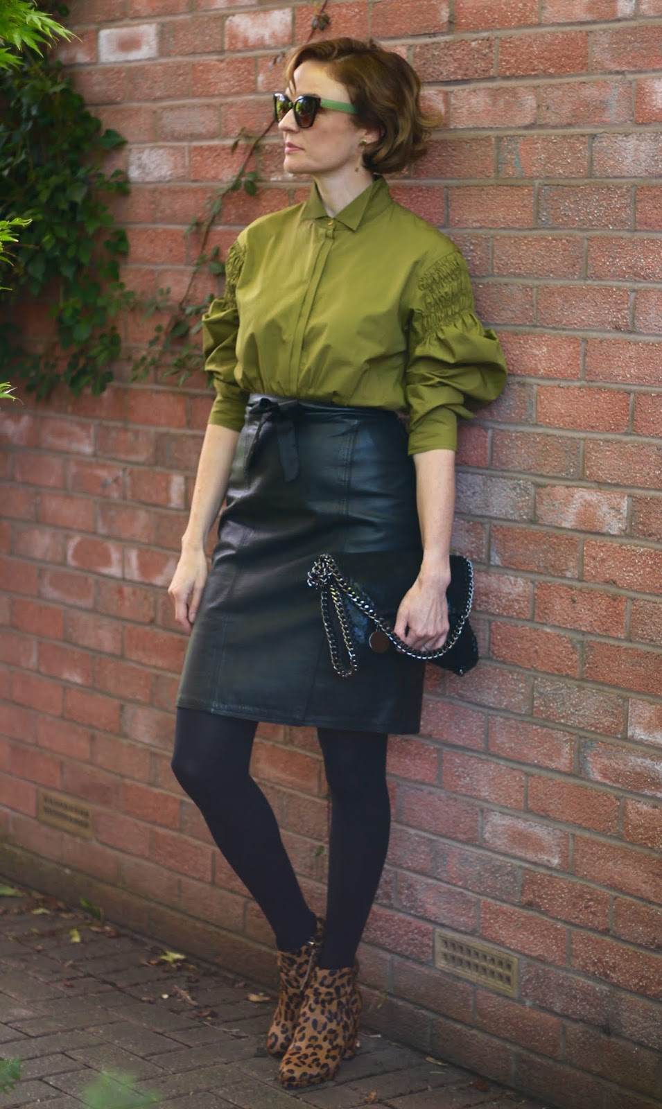 Green Blouse and a Leather Skirt | Autumn Style | Fake Fabulous