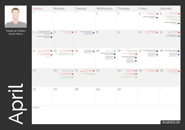 Deaf Calendar April 2020