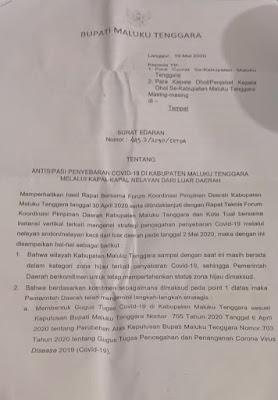 Surat edaran Bupati Maluku Tenggara tentang antisipasi penyebaran covid 19