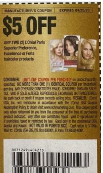 L'Oréal hair color coupon