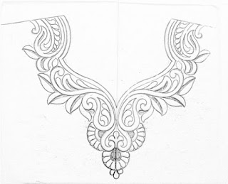 How to draw neck design for blouse,kurti,and dresses.neck design  Pencil sketch on tracing paper for hand emroidery.