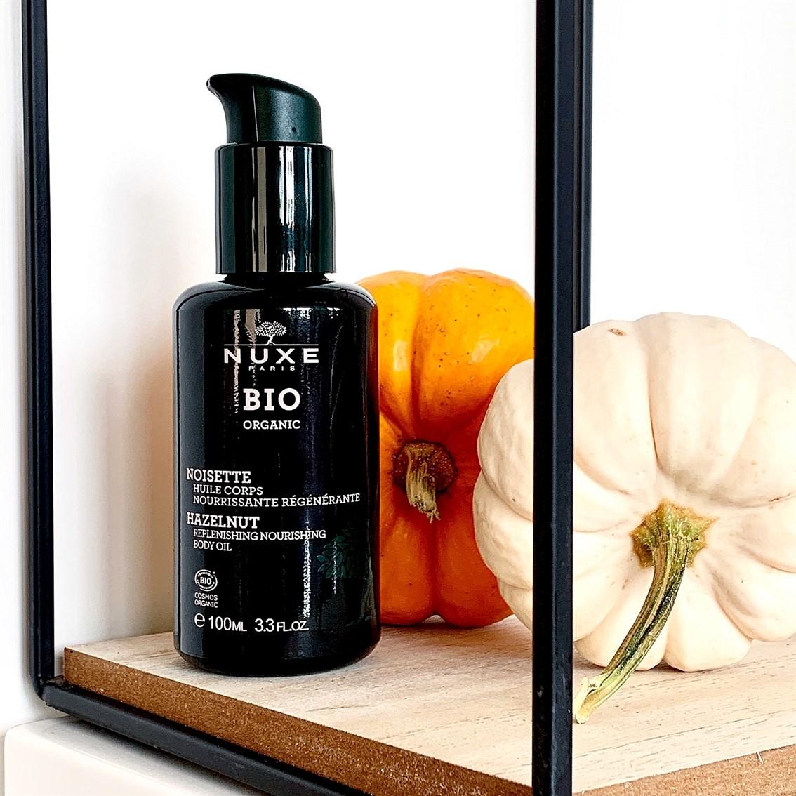 Nuxe BIO Odżywczy olejek do ciała orzech laskowy blog