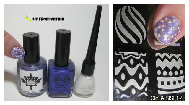 What I used:  LynBDesigns M'Lady's Prerogative, MPolish Dancing In The Streets, white striper, and three designs from my Cici & Sisi 12 plate.