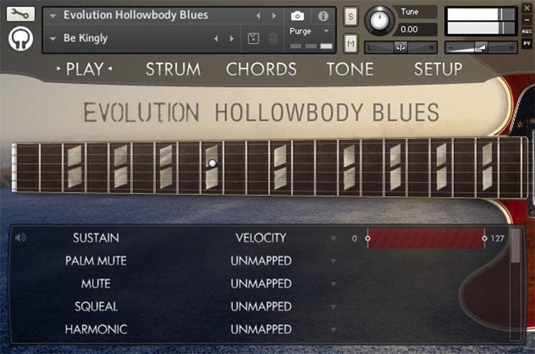 Interface da Library Orange Tree Samples - Evolution Hollowbody Blues (KONTAKT)