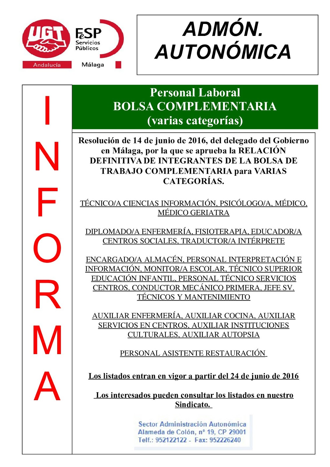 Blog de salva jim nez bolsas de trabajo complementarias definitivas varias categor as m laga - Ofertas de empleo jefe de cocina ...