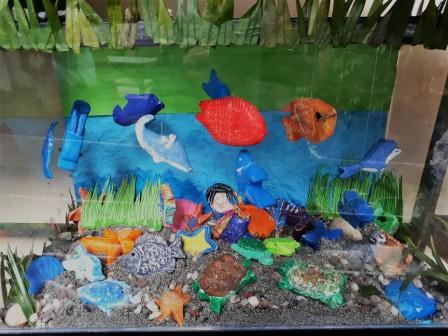 Aquarium with sea creature soap sculptures