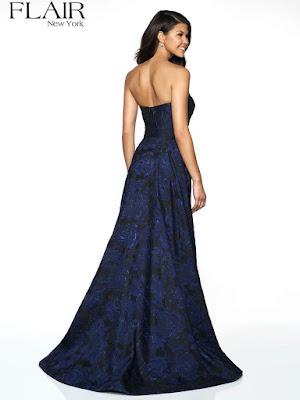 Brocade Overlay Fair Prom sapphire color dress back side