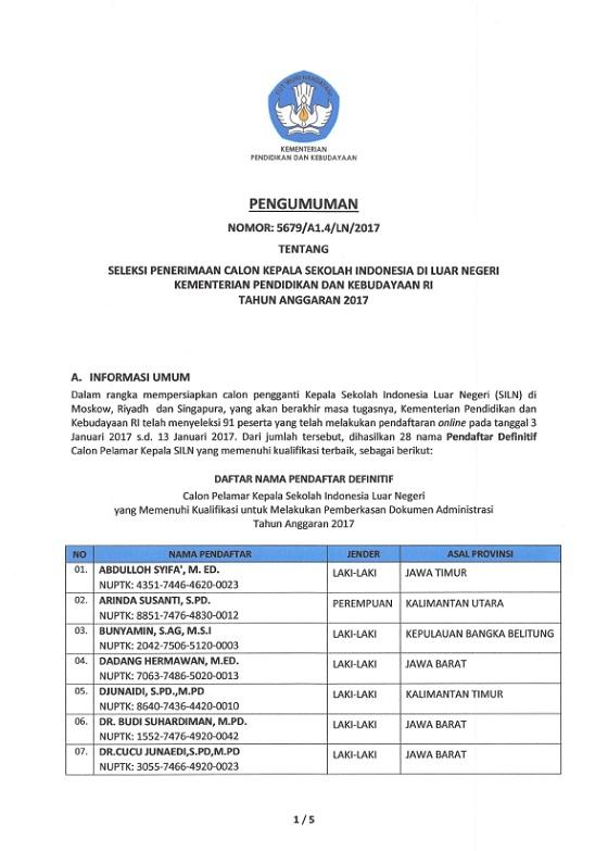 Pengumuman Tahap II Seleksi Kepala Sekolah Indonesia di Luar Negeri Kemendikbud RI Tahun Anggaran 2017