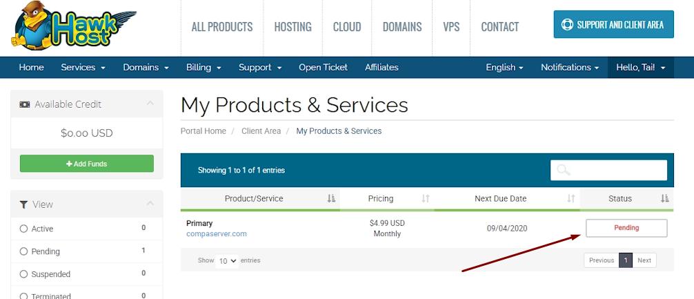 Hoàn thành xong việc mua hosting Hawkhost cho blog của mình