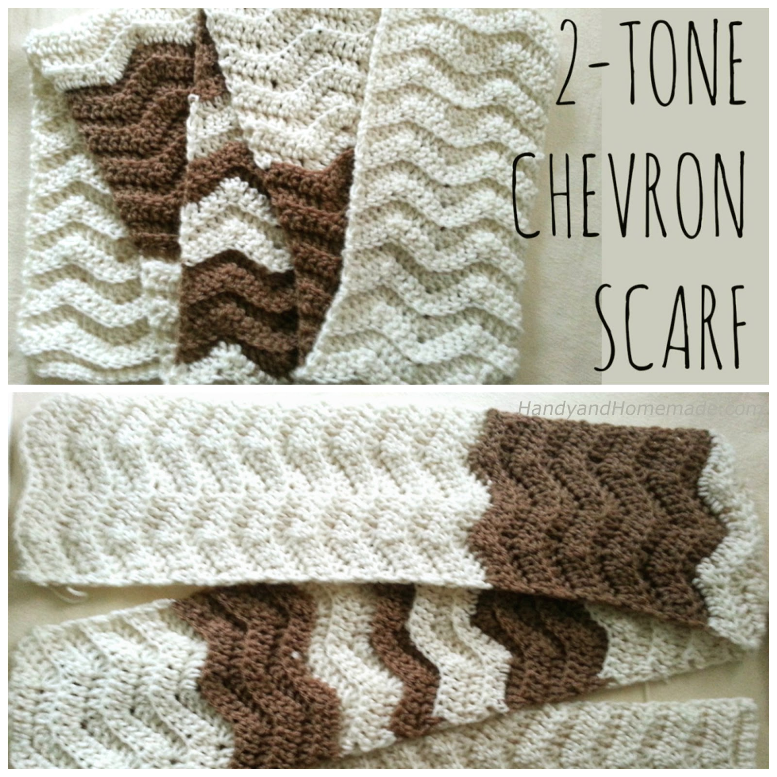 2 Tone Chevron Scarf Crochet Pattern Handy Homemade