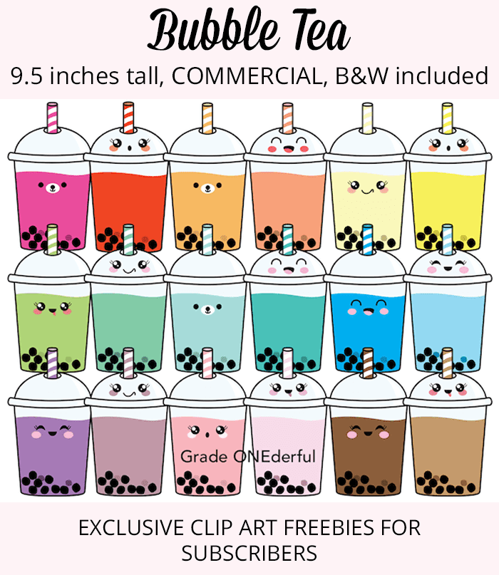 Bubble Tea Clip Art for teachers and anyone else who loves clip art. These cups of boba tea have cute Kawaii faces on them and come in color and B&W