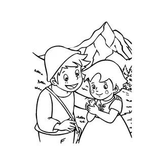 Dibujos Heidi y su amigo Pedro para colorear