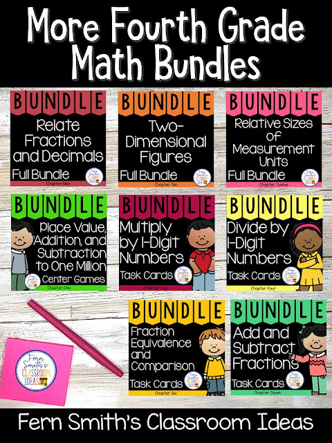 You can click on the picture or the caption below it to arrive at my TpT store already sorted for the grade level items you want for your class. Fourth Grade Go Math Bundles for Your Fourth Grade and Fifth Grade Students. #FernSmithsClassroomIdeas
