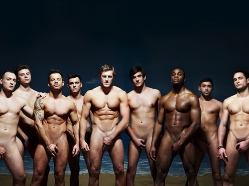 team men swim Group nude