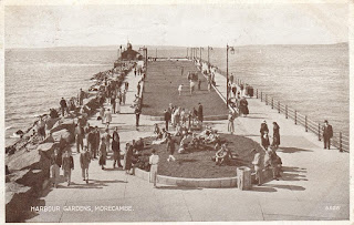 Postcard showing Harbour Gardens, Morecambe G.5021 by Allen & Sons, Blackpool 21A. Postally used on 19 August 1937