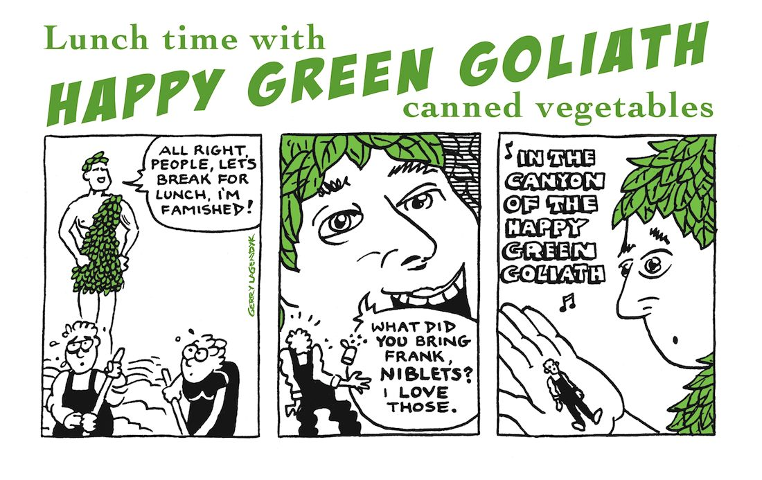 Happy Green Goliath, cartoon ad parody